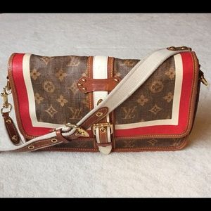 LV Monogram Tisse Rayure Clutch/shoulder purse